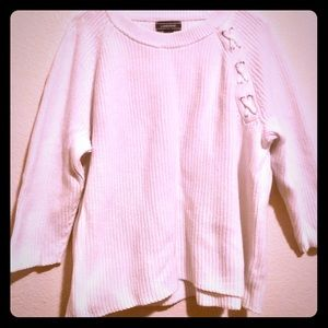 Land's End white ribbed knit sweater